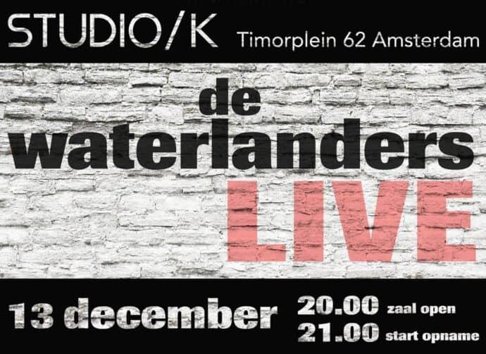 Aankondiging optreden van De Waterlanders in Studio/K in Amsterdam